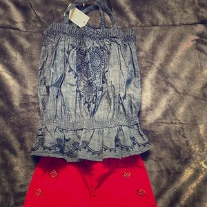 NWT GAP denim embroidered strap top 3T
